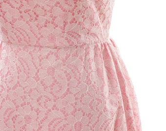 Small Medium 1960s Vintage Lace Pink Maxi Dress 4AA