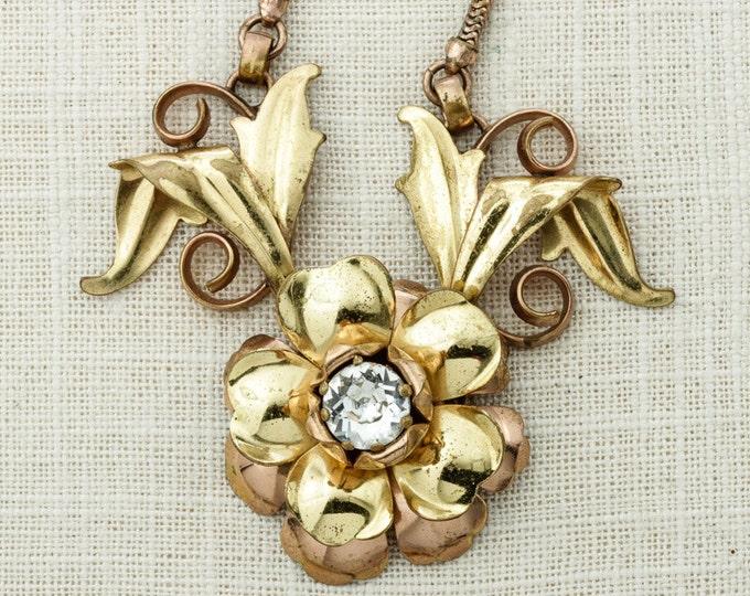 Rose Gold Necklace Shiny Flower Pendant Huge Crystal Stone Vintage Choker Necklace Costume Jewelry 16D