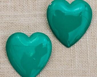 Green Heart Earrings 1990s Vintage Enamel Earrings | Bright 1980s - 90s Shape Pierced Earings | Studs 7TU