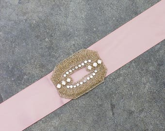 Blush Pink Satin Ribbon Belt Crystal Art Deco Rhinestone Embellishment Handmade Mauve Neutral Sash 221