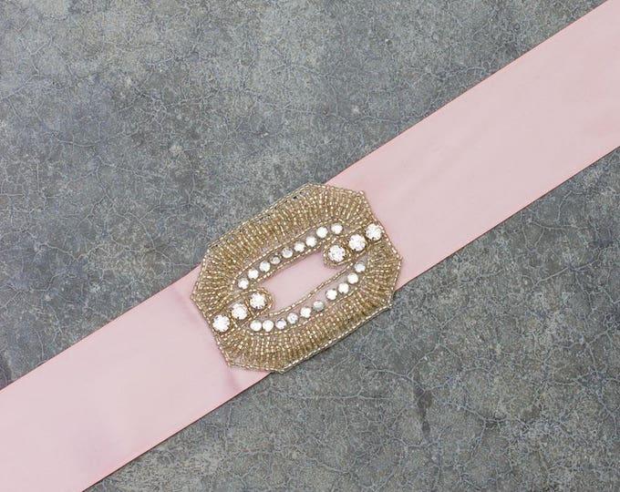 Blush Pink Satin Ribbon Belt Crystal Art Deco Rhinestone Embellishment Handmade Mauve Neutral Sash 221