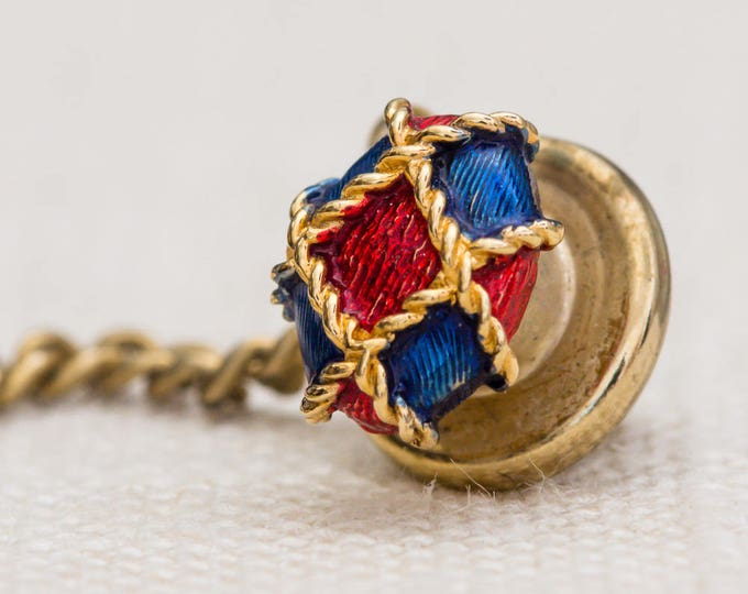 Classic Red and Blue Tie Tack Gold Lapel Pin Tie Clip Vintage Men's Accessory 7WW