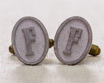 "F Cuff Links Vintage Cufflinks Letter ""F"" Initial Monogram 1960s Groom Accessory Mens Simple Classic Silver Oval Tuxedo 7UU"
