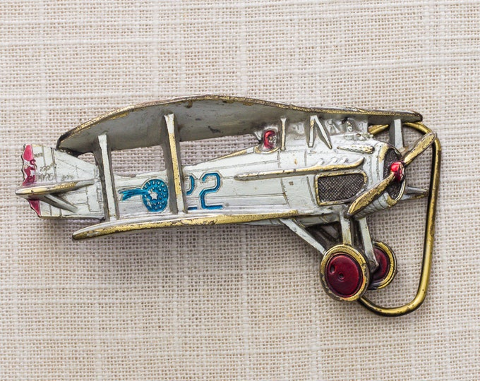 Enamel Biplane Belt Buckle 22 White Silver Red Blue Airplane 1981 Vintage Belt Buckle 7MM
