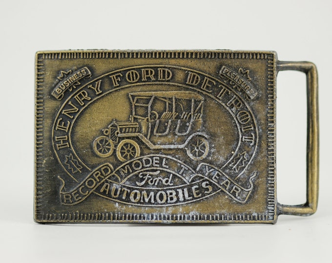Vintage Ford Belt Buckle - Detroit - Model T Henry 3rd Quality USA Car Guy Automotive Gift Michigan Antique Classic Motors Enthusiast BB13