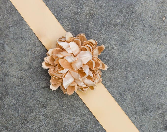 Champagne Satin Ribbon Belt Blush Flower Handmade Bridal Sash Wedding Bride Dress Soft Pink Romantic 190