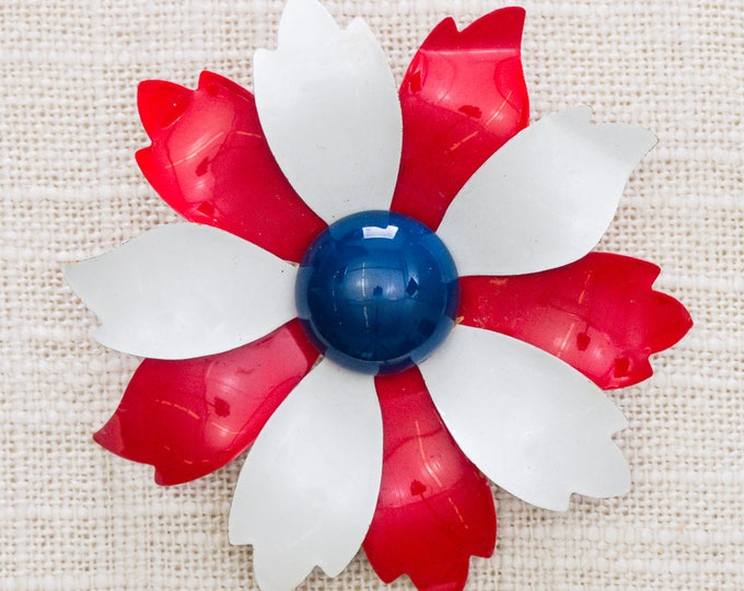 Vintage Red White & Blue Flower Brooch Mod Patriotic Broach 1966 Vtg Pin 7ii