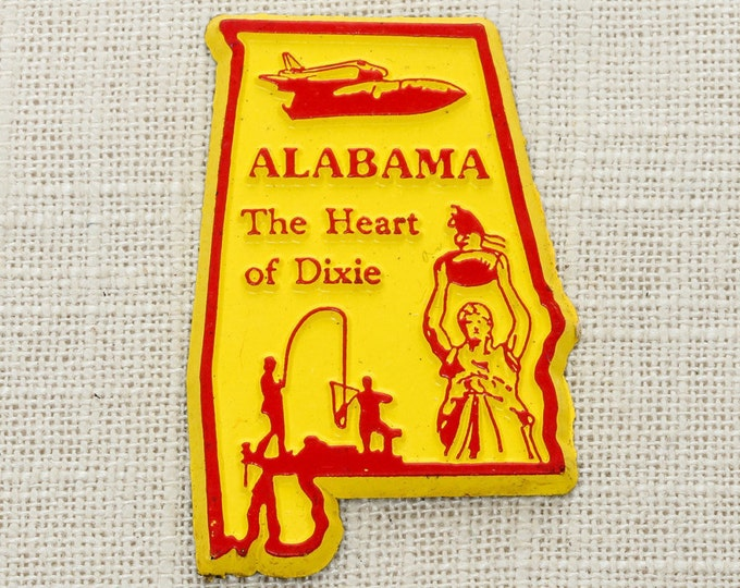 "ALABAMA Vintage State Magnet ""Heart of Dixie"" Travel Tourism Summer Vacation Memento USA Made in America Fridge Refrigerator Locker Gift 5S"