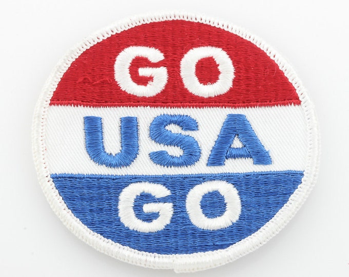 Vintage GO USA GO Unused Patch | Patriotic Red White Blue Travel Sew Applique Jacket Jeans Hat Shorts Backpack America Olympics 4th of July