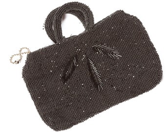 Black Beaded Vintage Mini Purse Leaf Pattern Czechoslovakia 1920's 30's Art Deco Beads Evening Bag 7VV