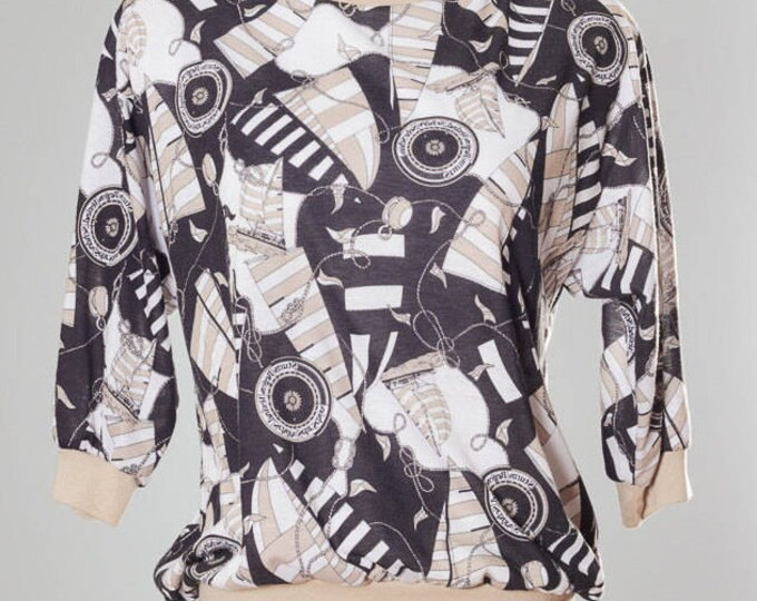 Small 1980s Women's Vintage Printed Top 4CC