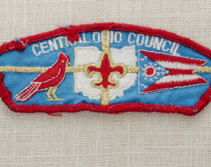 Vintage Ohio Patch | Central Ohio Council Sew On Patch | Boy Scouts of America State Flag Cardinal | BSA Metallic Gold Red White Blue