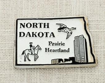 "Vintage North Dakota State Silhouette Magnet   ""Prairie Heartland"" Bismarck Travel Tourism Summer Vacation Memento   USA America   Fridge 5S"