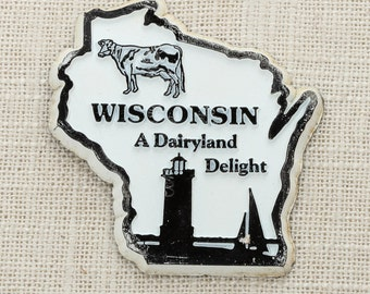 Wisconsin Silhouette Vintage State Magnet Cow Lighthouse Sailboat Badgers Tourism Summer Vacation Memento USA America Dairyland Delight 5S