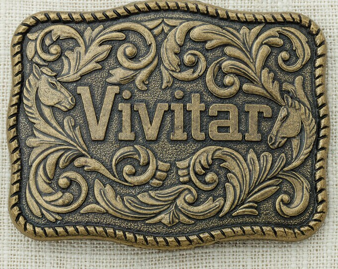Vivitar Belt Buckle Camera Photographer Photography Horse Scroll Vines Vintage Belt Buckle 16A