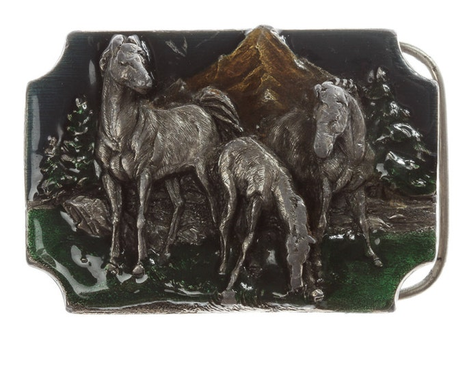 Horse Belt Buckle Equestrian Vintage Siskiyou Buckle Co Oregon Mountain Enamel 16B