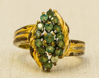 Green Rhinestones Vintage Ring Gold Abstract Marquise Shape US Womens Size 5.5 7RI