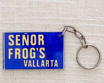 Senor Frog's Keychain Vallarta Mexico | Spring Break Vintage Keychain Key FOB Plastic Key Chain 7KC
