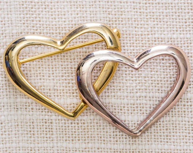 Two Hearts Brooch Vintage Rose Gold Double Heart Broach Vtg Pin 7JJ
