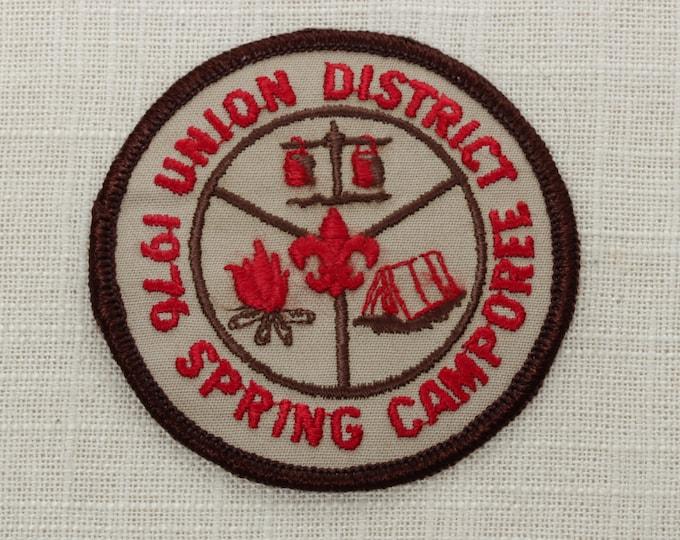 Vintage Sew On Patch Union District 1976 Spring Camporee - Camp Fire Tent Fleur De Lis - Boy Scouts of America