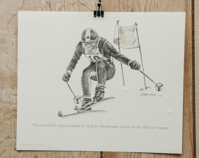 1976 Vintage Artwork Skiing Downhill Ski Racer Olympic Winter Games Athlete | Signed Robert Riger Print | Sports 70's Poster Signature SALE