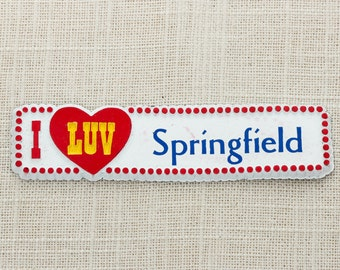 I LUV SPRINGFIELD Magnet | Illinois Massachusetts Ohio | Travel Tourism Memento Made in USA America Fridge Refrigerator 5S