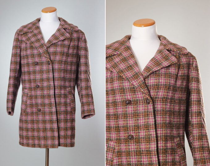 Vintage Plaid Coat MEDIUM Women's Jacket Multi Colored Buttons Winter Outerwear Wool 1960s 1970s Cold Double Breasted Winter Jackets B