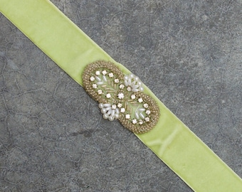 Green Velvet Ribbon Belt Art Deco Beaded Applique Pearl Rhinestone Light Pale Apple Green 187