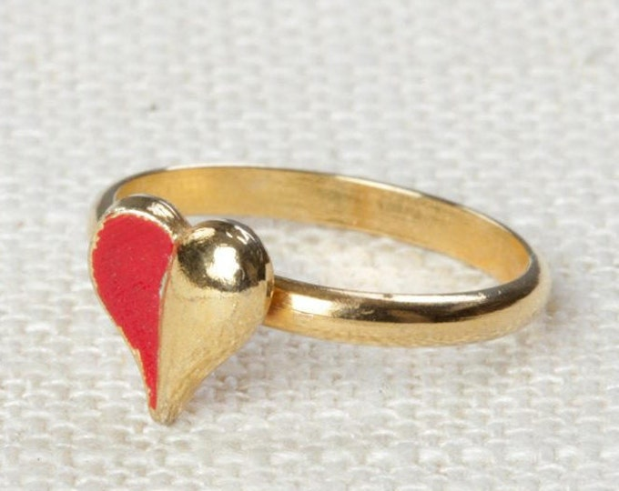 Red Gold Heart Vintage Ring Adjustable US Womens Size 3 to 4 7I