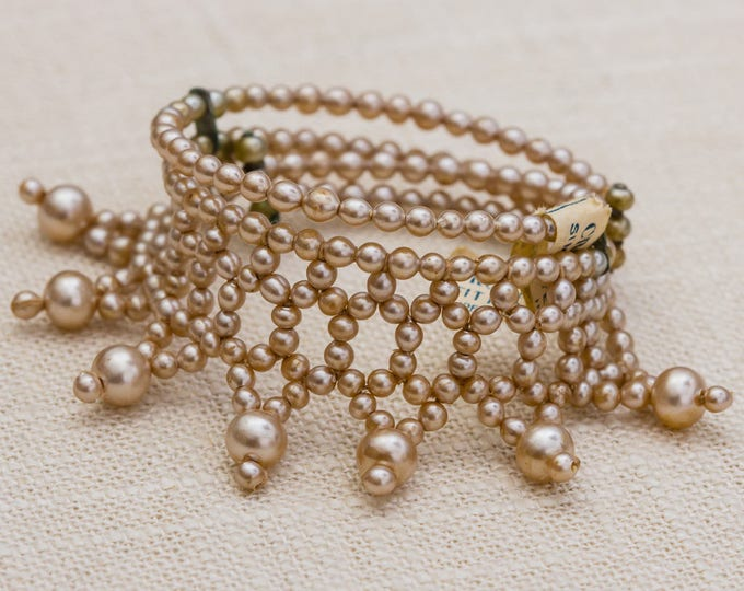 Blush Pearl Cuff Vintage Bracelet Simulated Pearl Crown Brand Costume Jewelry 7AR