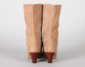 """1980s Tan Suede Booties Vintage 
