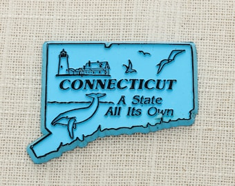 "Vintage Connecticut State Magnet Silhouette | ""A State All Its Own"" Travel Tourism Summer Vacation Memento Blue 