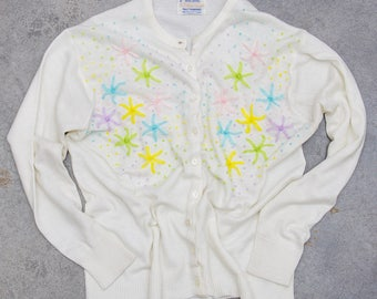Pastel Flower Sweater Abstract 1960s White Vintage Cardigan Jumper Size LARGE 7ND