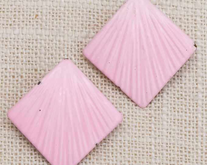 1980s Pastel Pink Enamel Earrings | Light Mauve Blush Pink Geometric Earrings Pierced Earings | Studs 7TU