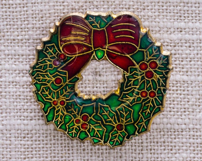 Green Holly Christmas Wreath Brooch Gold Red Ribbon Bow Berries Pin Holiday 14H