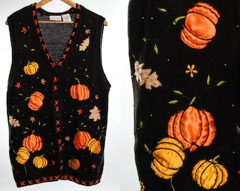Vintage Pumpkin Sweater Vest XL Extra Large 1X Unisex Halloween Sweater Orange & Black True Vintage Cardigan | 1980s 90s Mens Womens 16A
