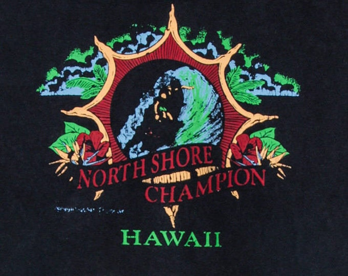 Small 1990s Vintage Black Hawaii Surfing T Shirt | 5AA