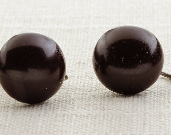 Vintage Dark Brown Earrings Clip On Button Type Round Clipons | Vtg 7B