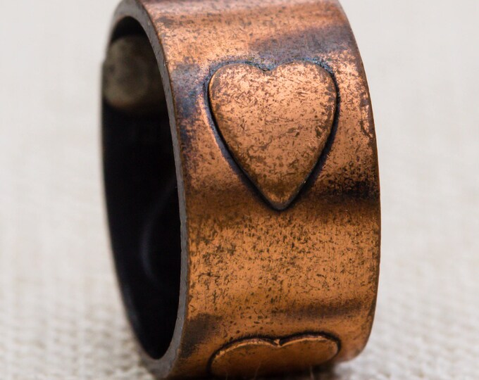 Copper Hearts Vintage Ring Simple Band US Womens Size 6 7RI