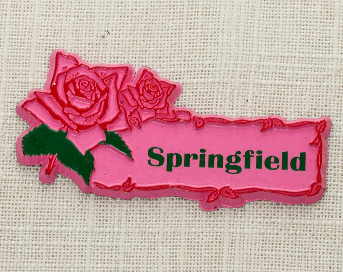 "Vintage ""SPRINGFIELD"" Magnet Pink Roses 