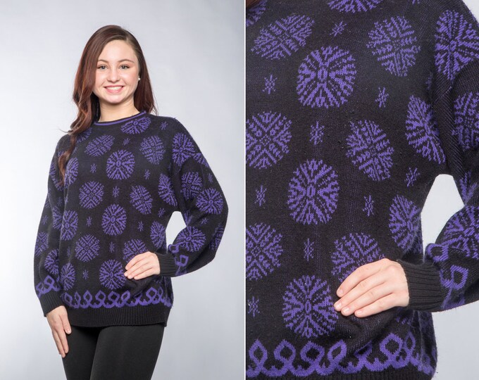 Vintage Snowflake Sweater 90s Vintage Snow Flake Jumper Purple & Black Size Large Oversized boyfriend Sweater Christmas Sweater L XL | 16W