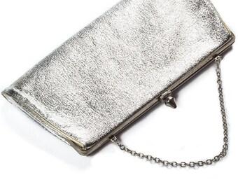 Silver Vintage Purse & Silver Chain Convertible Strap Metallic Bag Modern | Shiny Clutch - 1960s - Mod Metallic 7VV