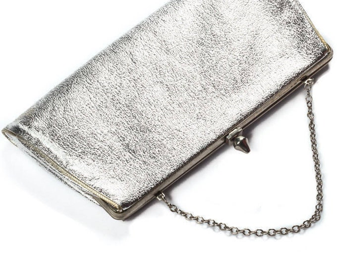 Silver Vintage Purse & Silver Chain Convertible Strap Metallic Bag Modern | Shiny Clutch - 1960s - Mod Metallic 7VV