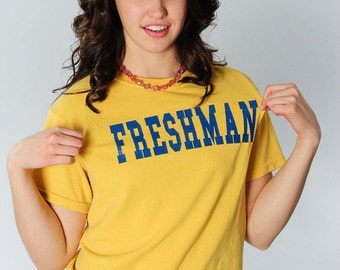 Freshman T Shirt Small Vintage Yellow 14  | 5AA