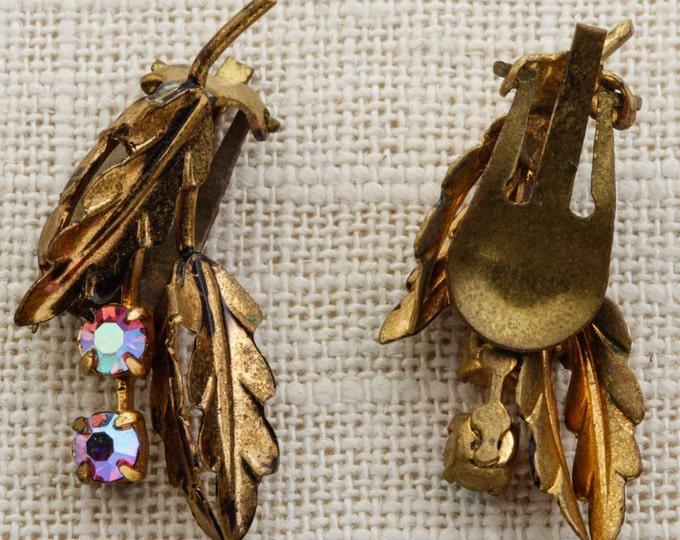 Vintage Rhinestone Earrings Clip On Gold Leaves Pink AB Iridescent Ear Climber Crawler Clipons | Vtg 7B