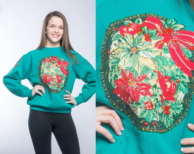 Glitter Christmas Sweatshirt Vintage Winter Holiday Puffy Paint Mistle Toe Holly Size M Medium 50/50 Cotton Poly Blend Ugly Christmas 6CB