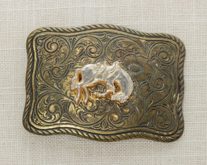 SALE Vintage Rodeo Belt Buckle Cowboy Horse Brass Metal Unisex Buckle Mens Womens BB13