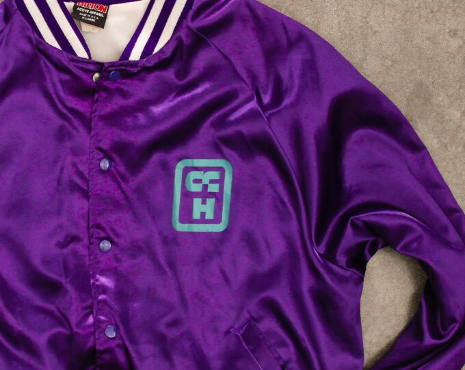 Purple Light Weight Jacket Vintage Columbus Community Hospital White Aqua Graphics Ohio Size XXL Mens Womens Unisex 7W