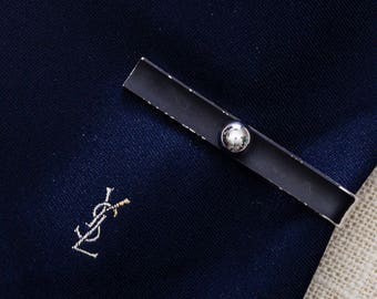 Black and Silver Bead Vintage Tie Clip Manleigh Brand Men's Accessories Add On 7WW