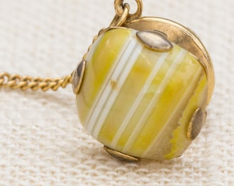 Yellow Stone Tie Tack Gold Lapel Pin Tie Clip Vintage Men's Accessory 7WW